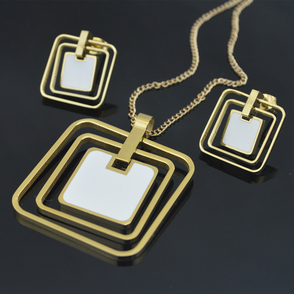 White Enamel Square Necklace Pendant Earrings  Jewlery Sets For Women Gift Fahion BTE172