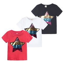 Elvesnest Graphic T Shirts Discoloration Sequins powerpuff Kids Boys Tops Cotton Short Sleeve Girls T-Shirts Summer Kids Clothes