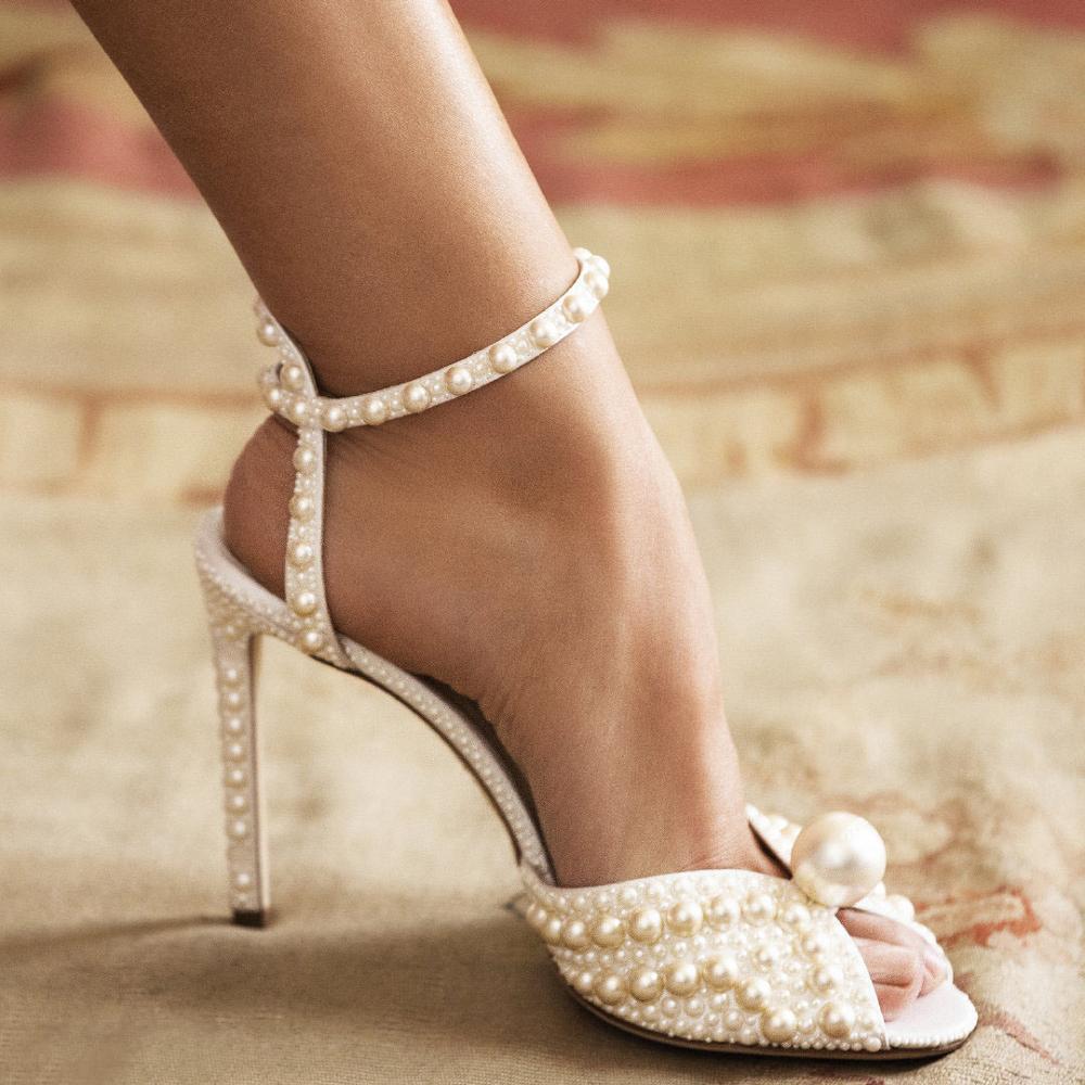 Beige Pearl Women Pumps Luxury Brand Peep Toe Summer Sandals Female Handmade Stiletto High heels Sandalias Mujer Shoes Woman 41