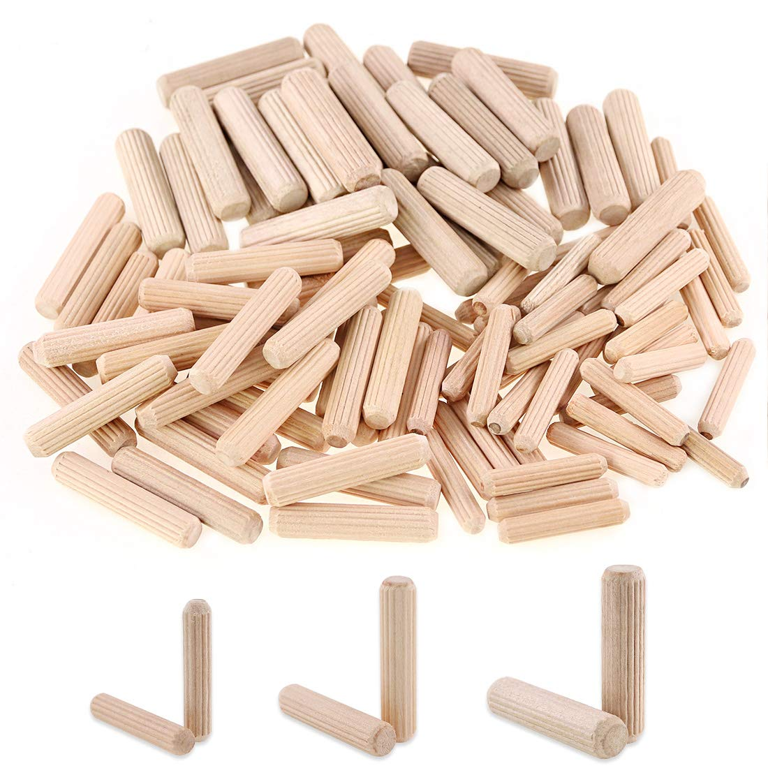 100pcs Wood Dowel Pins Beveled Ends Tapered For Easier Insertion Straight Grooved Pins For Furniture Door And Art Projects