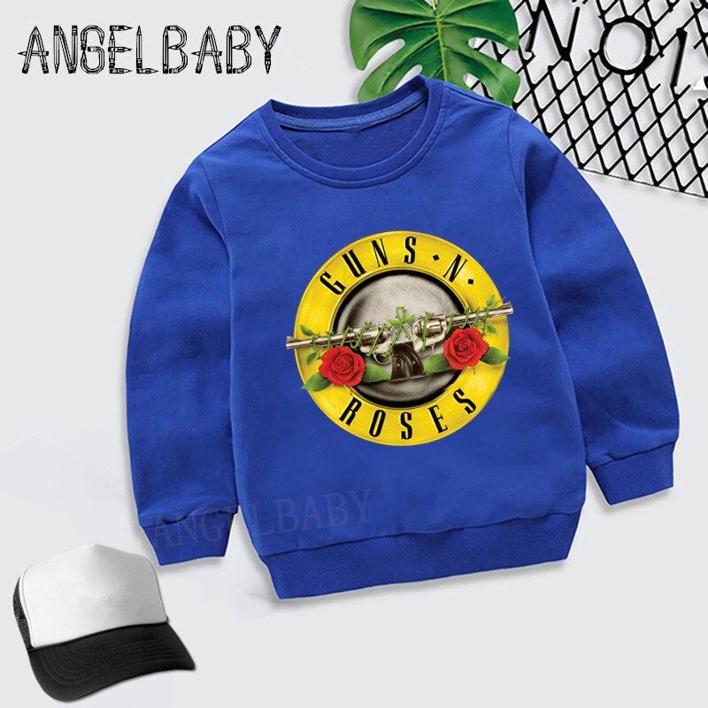 Meninos meninas moletom crianças rock band gun n rosas impressão dos desenhos animados hoodies crianças outono topos roupas de algodão do bebê, kyt5196