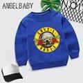 Толстовка для мальчиков и девочек, детская толстовка с принтом рок-группы Gun N Roses, детские осенние Топы, Детская Хлопковая одежда, KYT5196