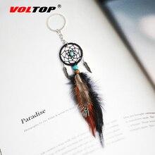 לוכד חלומות רכב קישוטי תליון תליית קישוט עתיק כסף עלים מפתח שרשרת לתפוס חלום נטו מפתח טבעת