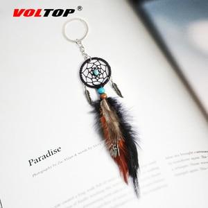 Image 1 - Dreamcatcher Car Ornaments Pendant Hanging Decoration Ancient Silver Leaves Key Chain Catch Dream Net Key Ring