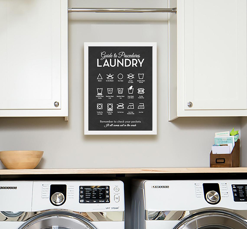 Laundry Procedures Chart Guide Modern Wall Art Canvas Prints Laundry Room Decor Laundry Chart Poster Art Painting Picture Painting Calligraphy Aliexpress