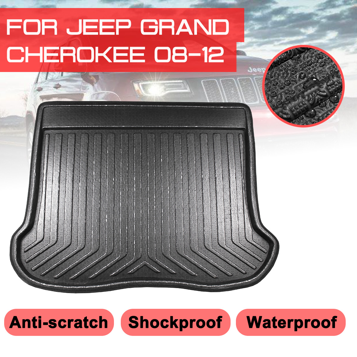 Car Rear Trunk Boot Mat For Jeep Grand Cherokee 2008 2009 2010-2012 Waterproof Floor Mats Carpet Anti Mud Tray Cargo Liner