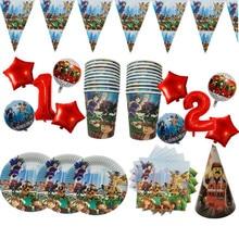 Tableware-Set Banner Ballons Game-Plates Wedding-Decoration Roblo Napkins Cups Disposable