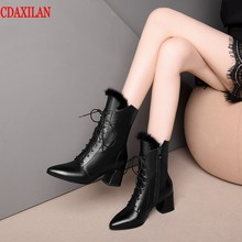 CDAXILAN new to women's boots genuine cow leather pointed toe cross tied size zipper high-heel Mid-calf boots autumn winter boot prova perfetto euramerican pointed toe chunky heel chelsea boots women black white genuine leather cross tied knight boot female