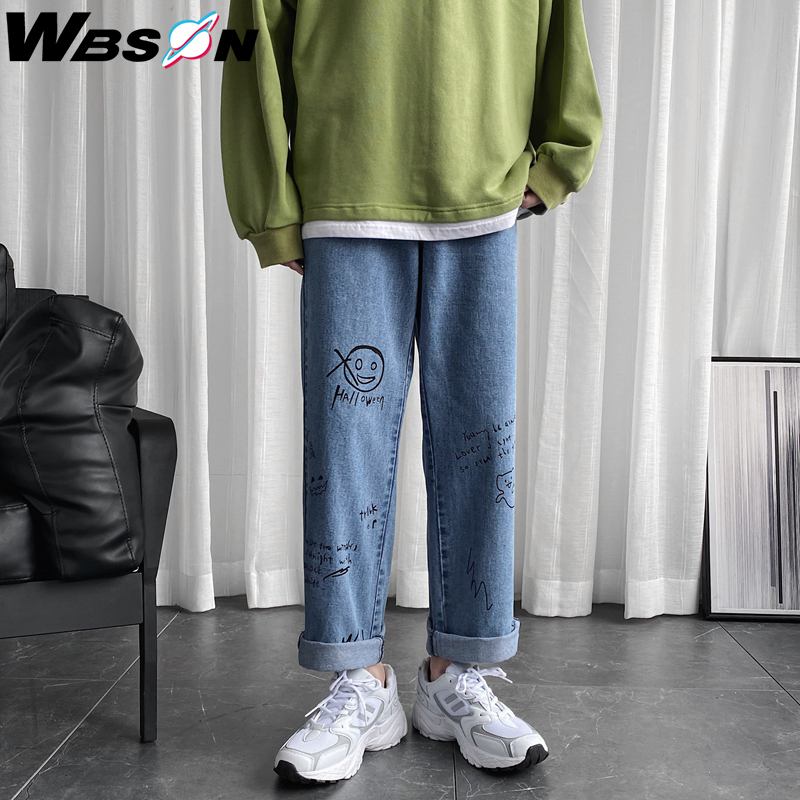 Wbson Fashion Loose Straight Graffiti Jeans Pants Men Harem Jeans Trousers Brand Casual 100% Cotton Denim Jeans M-5XL CS-NZ8601