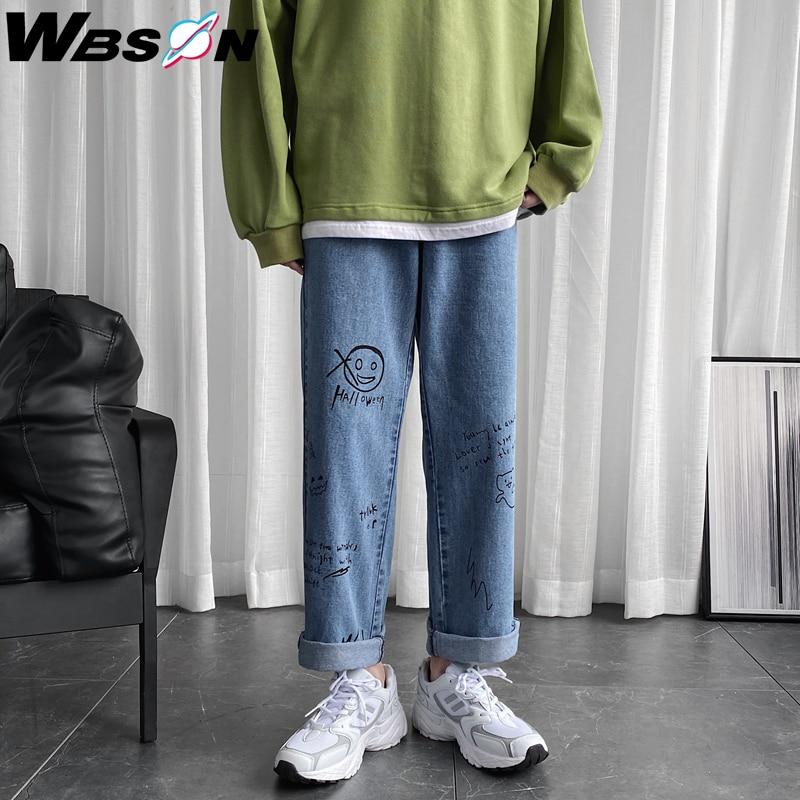 Wbson Fashion Loose Straight Graffiti Jeans Pants Men Harem Jeans Trousers Brand Casual 100% Cotton Denim Jeans M-5XL CS-NZ8601