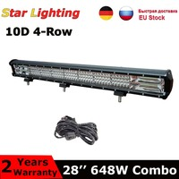 IP68 28inch 648w quad rows offroad led light bar high power 10D offroad driving lamp For 4x4 Truck car light 12V 24V