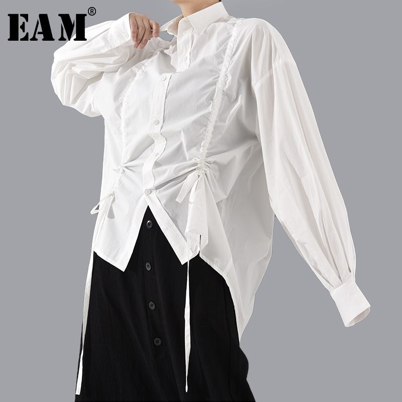 [EAM] Women Drawstring Asymmetrical Big Size Blouse New Lapel Long Sleeve Loose Fit Shirt Fashion Tide Spring Autumn 2020 1T804