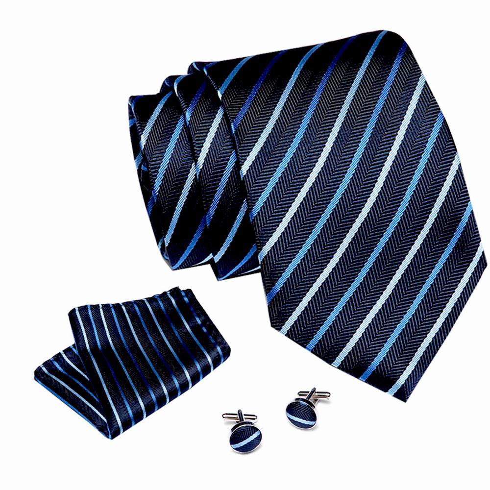 Luxury 7.5 Cm 100% Silk Men's Blue Stripe Neckties Handkerchief Cuffink Set For Men Formal Dress Business Wedding Gift For Mens