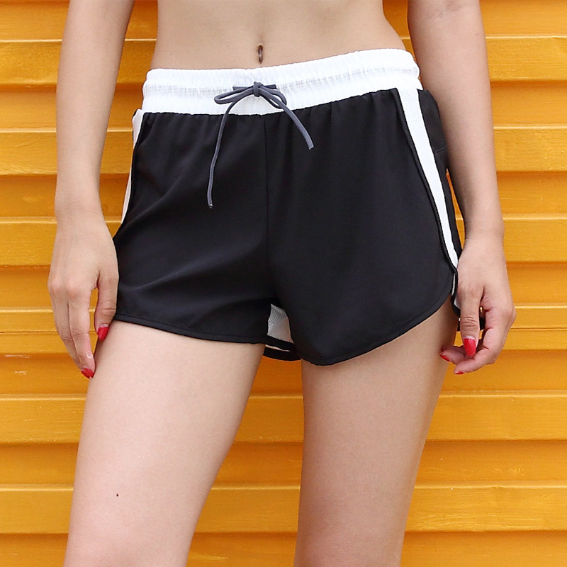 New Fitness Running Lady Casual Shorts Fake Two Contrast Stitching Slimming Shorts Anti-running Hot Shorts