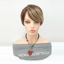 цена на HAIRJOY Synthetic Hair Women Short Straight Brown Blonde Double Color Mixed Heat Resistant Fiber Wig
