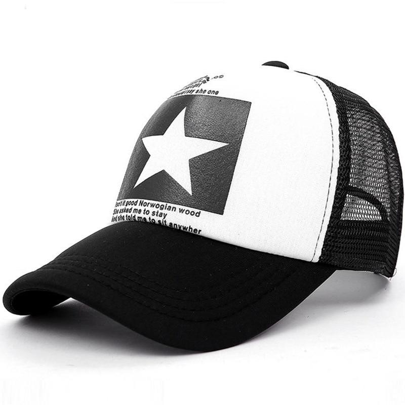 Five-Pointed Star Baseball Cap Mesh Breathable Hat Women And Men Summer Snapback Bone Hats Unisex Outdoor Pentagram Printing Cap