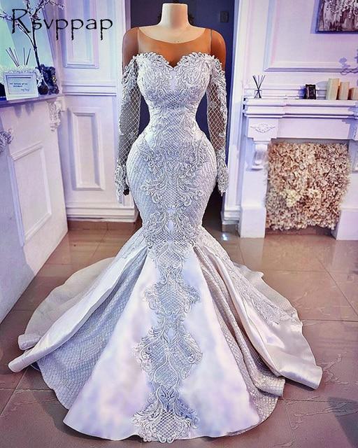 Long Sleeve Elegant African Women Bride Wedding Gown 1