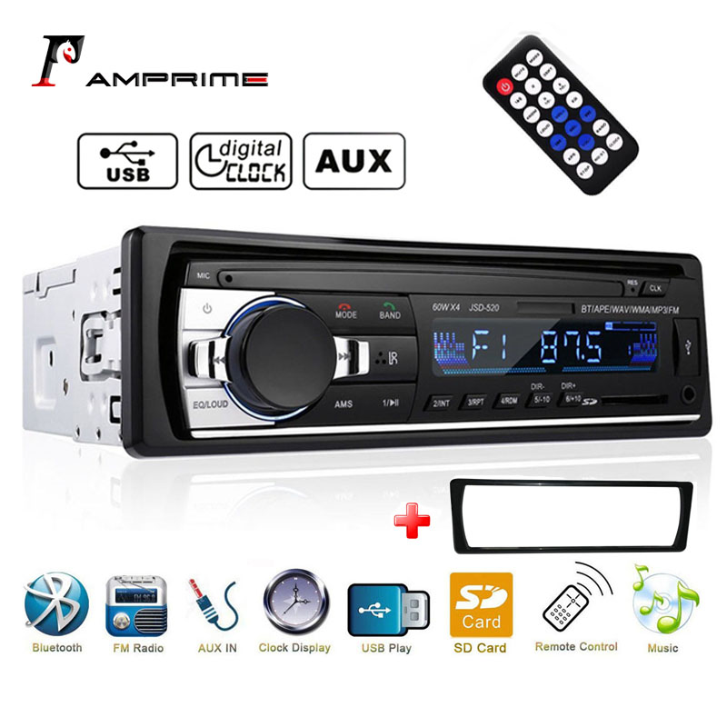 AMPrime car radio 1 din ISO interface support Bluetooth USB SD AUX IN remote control Mp3 Player image