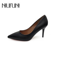 Fashion Pointed Toe PU Leather High Heels Women Pumps Work NIUFUNI Stiletto Woman Shoes Wedding Shoes Office Career Elegant недорого