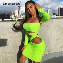 Bangniweigou Off Shoulder Sexy Hollow Out Bandage Dress Women Backless Long Sleeve Club Neon Green Party Festival Mini