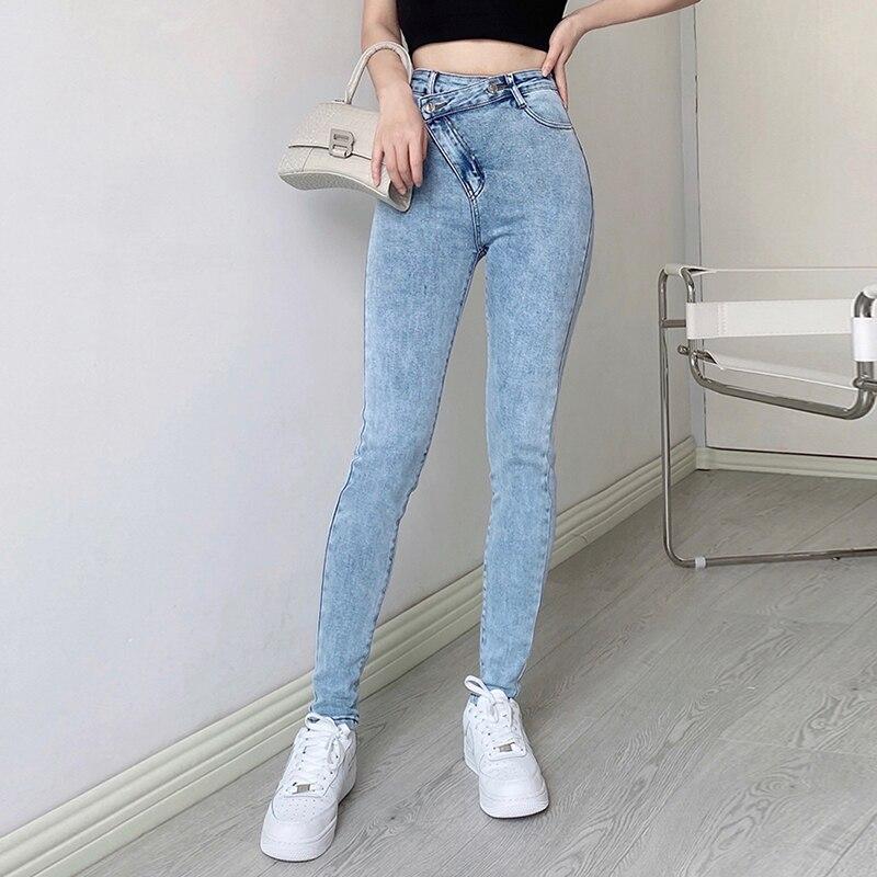 Dünne Jeans Frau Hohe Taille Elastizität Oversize Bleistift Hosen Mom Dünne Denim Hosen Weibliche Mode Jeans Mit Schlitze