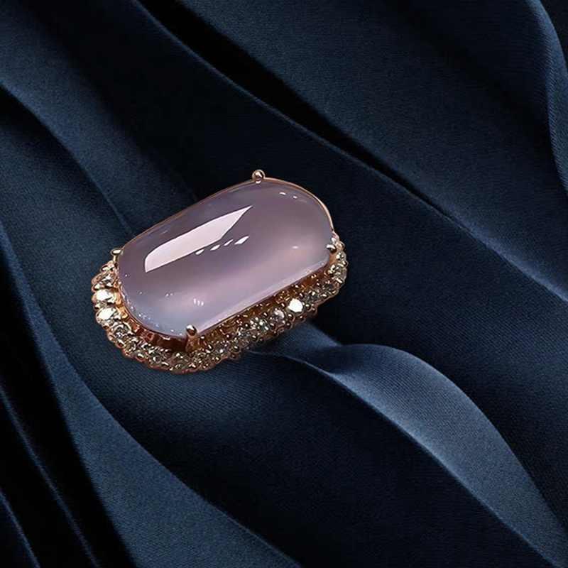 Prostokąt Taro fioletowy pierścień dla kobiet mały cyrkon elegancka obrączka Cocktaill Rings