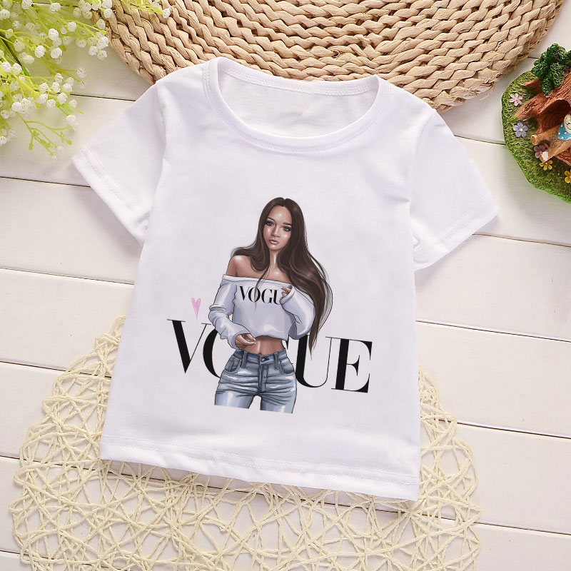 Summer Lovely Designs Girl Clothes VOGUE Women Talent Good Printed Girls Tops Round Neck Tshirt Boys Short Sleeves White T Shirt