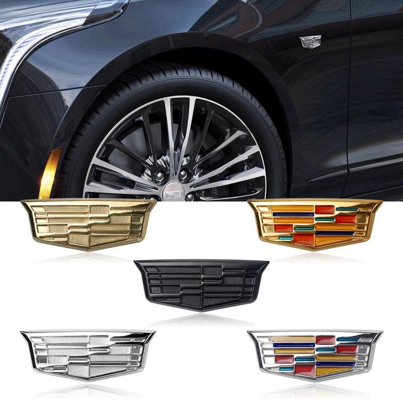 1Pcs 3D Metal Car Fender Labeling Body Badge Sticker For Cadillac SRX BLS Deville XTS DTS ATS STS SLS XT5 XLR-V Accessories