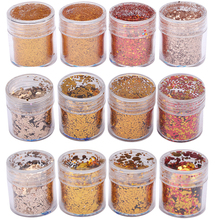 Gold Glitter Sequin Christmas Theme Embellishment Festive Crafts Decor For UV Resin Pigment Jewelry Tools