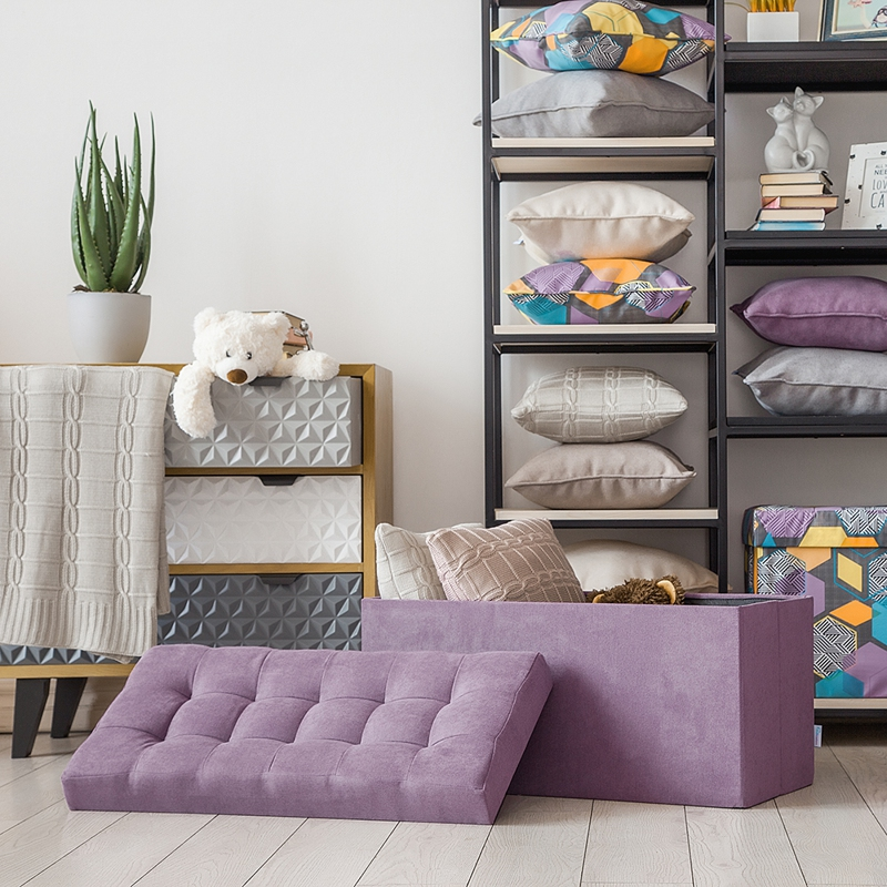 Delhi-Poof Folding Large Delicatex lilac Multi-function Storage Box with Lid Organizer Comfortable Ottoman for Children Footrest Fabric Small Chair Living Room Hallway Furniture Tabouret thicken cotton large folding saucer moon chair round seat living room furniture