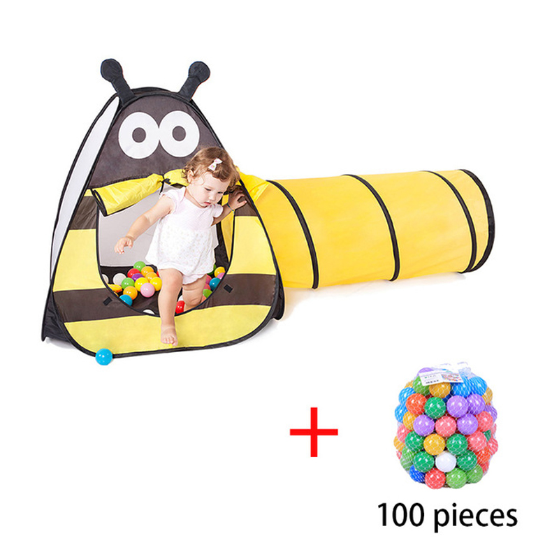 Kids Play Tent With Tunnel Ocean Ball Pit Pool With Basket Hoop For Toddler Outdoor Indoor 3 In 1 Pop Up Playhouse For Children