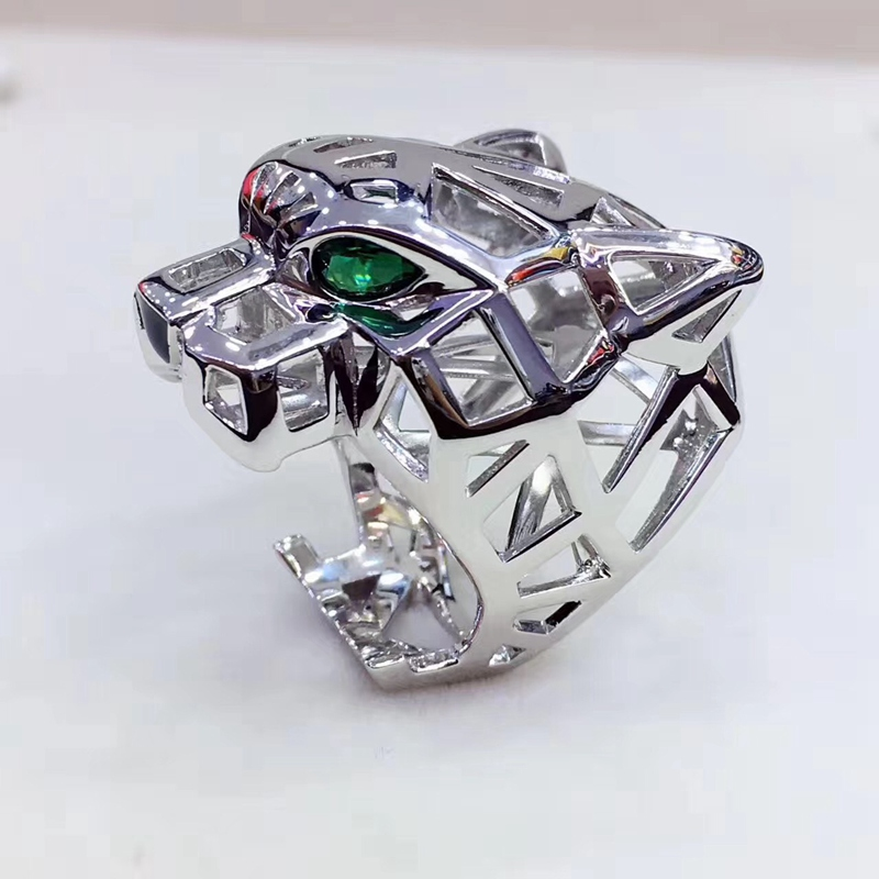 Jewelry Finger-Ring Panther-Heads Leopard Green Women Animal Party Trendy Eyes Hollow title=