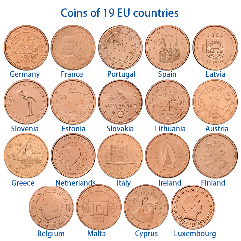 19 EU Countries, 1 Cent 19 From Different Countries Europe New Original Coins Collectible Edition Real Rare Unc
