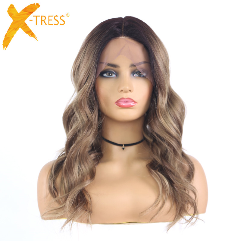 Ombre Brown Natural Wave Synthetic Lace Front Wigs For Women Black Blonde Shoulder Length Heat Resistant Lace Wig X-TRESS