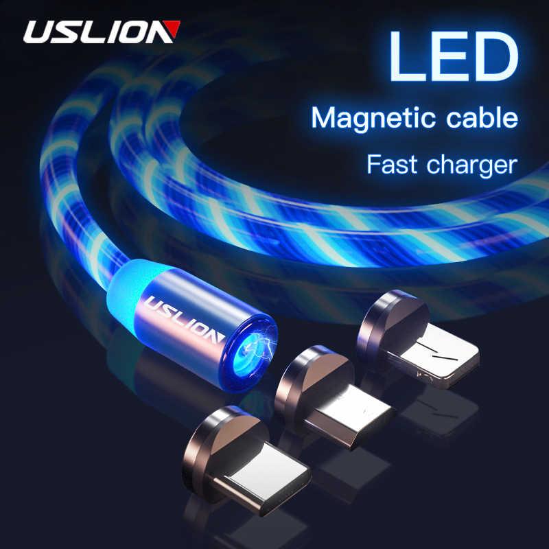 USLION المغناطيسي كابل الشاحن تتدفق ضوء شحن سريع المغناطيس المصغّر usb نوع C كابل آيفون XS XR LED المغناطيسي سلك الحبل
