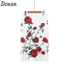 Bodycon Skirt Floral-Print Plus-Size A-Line High-Waist Office Lady Women's Summer Young-Girl