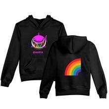 3 To 14 Years Kids Hoodie 6ix9ine Rainbow Shark boy/girls Hoodies Sweatshirts Kawaii Cartoon pullover Coat Children Clothes