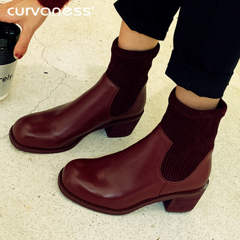 Curvaness Women Knitted Sock Boots 5cm Med Heels Ankle Boots for Women Fur Winter Boots Women Winter Shoes Wine Color