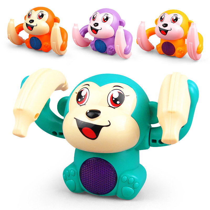 Electric Flipping Monkey Children Animal Model Toy Voice Control Induction Cartoon Rolling Banana Baby Monkey Electric Toy