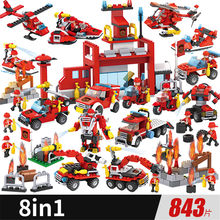 Building Blocks Compatible LegoED Model Bricks Toys Aircraft Boy's Toy Educational Fire Truck Department Blocks Birthday Gift()
