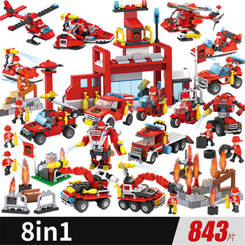 Fire Car Building Blocks Bricks Toys Aircraft Boy's Toy Educational Toys Fire Truck Station Department Blocks Birthday Gift