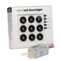 1W IP65 Mini LED faretto da soffitto DC12V armadio lampada camera da letto illuminazione 9 pezzi Downlight con trasformatore di AC100-265V