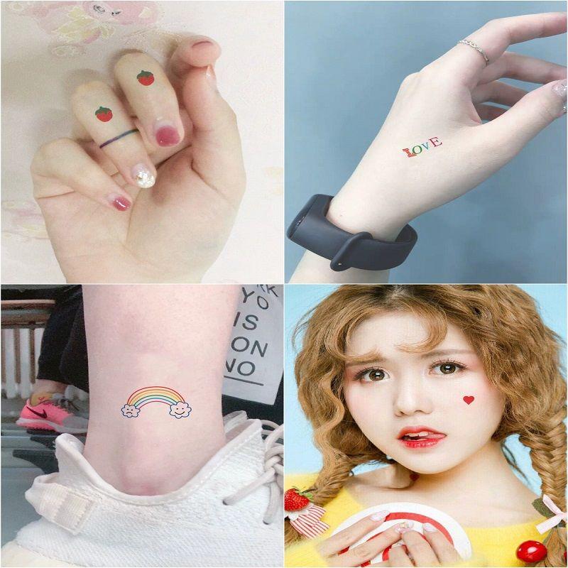 Tattoo Stickers 30 Sheets/ lot Kawaii Sticker Korean Style Ins Flowers Rainbow Tattoo Stickers Cartoon Decoration Stickers 5