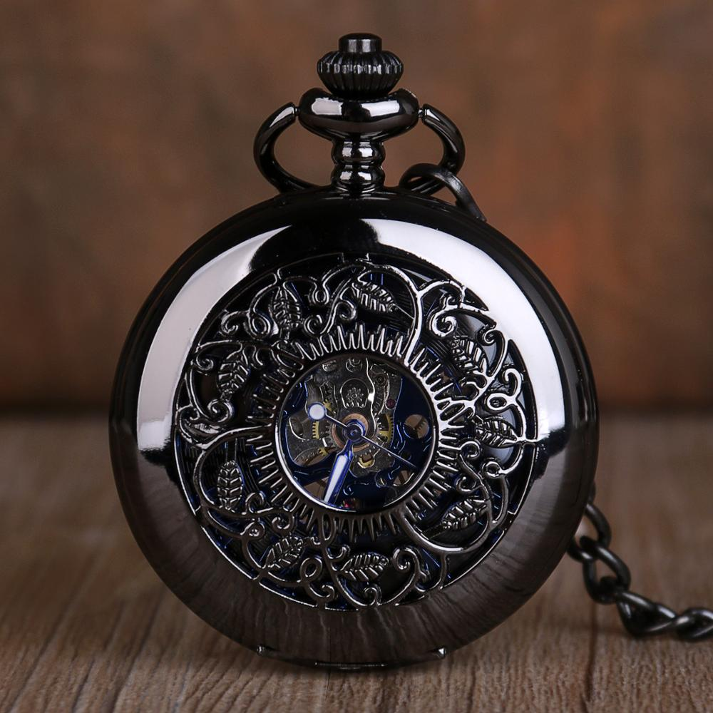 Vintage Steampunk Mechanical Pocket Watch Classic Roman Numerals Black Hollow Pocket Watches Men Women Gift Clock With Fob Chain