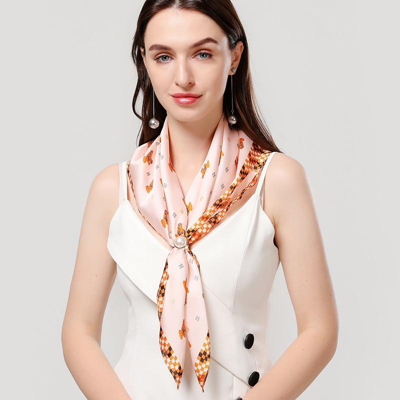 2020 Fashion Women Silk Neck Scarf Print Small Hair Accessories Tie Foulard Lady Headband Hand Kerchief Office Femme Scarfves