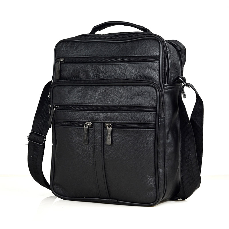 High Qulity Genuine Leather + PU Men Handbags Large Male Travel Zipper Messenger Bags Male Leather Brifcases