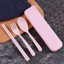 Baby Feeding Spoon Tableware Cutlery-Set Fork-Chopstick-Case Soup Kids Picnic-Sets Eco-Friendly