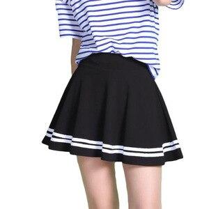 Image 2 - 여름 2020 여성 스커트 탄성 팔다 숙녀 미디 스커트 Pleated 블랙 섹시한 줄무늬 소녀 미니 짧은 학교 스커트 saia feminina
