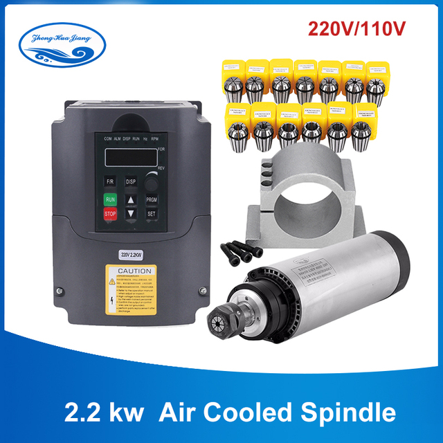 2.2kw ระบายความร้อนด้วยน้ำชุด CNC แกนมอเตอร์ + 2.2KW VFD + 80 มม. + ปั๊มน้ำ/ท่อ + 13 pcs ER20 สำหรับ CNC Router