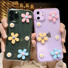 3D Flowers Glitter Phone Case For iPhone 11 Pro 7 8 6 6s Plus X XR XS Max Transparent Bling Soft TPU Silicone Back Cover glitter powder holder phone case for iphone 11 x xr xs max 6 6s 7 8 plus transparent soft tpu wrist strap shockproof back cover